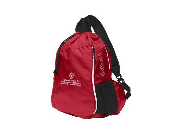 Sling bag type backpack with ther Nelson Institute logo